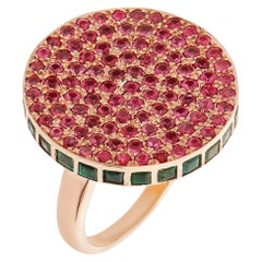 18 Karat Rose Gold Spinel and Emerald Candy Ring