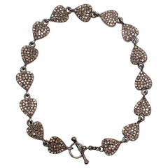 Ileana Makri Love Chain Oxidized Silver Bracelet with Grey Diamonds