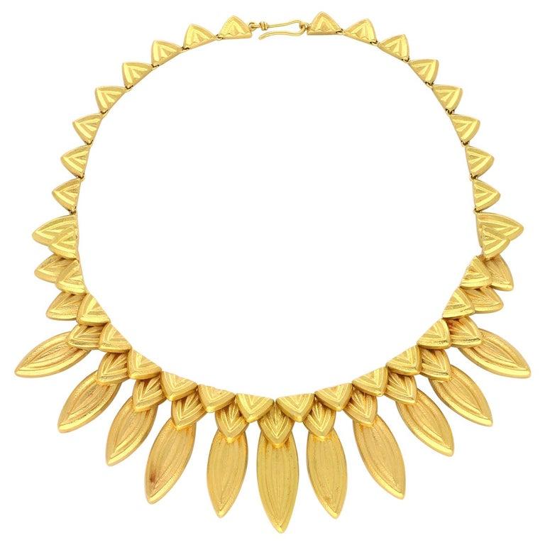 Ilias Lalaounis 18 Carat Gold Fringe-Style Leaf Necklace, circa 1980s For Sale