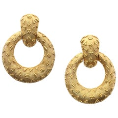 Ilias Lalaounis 18 Carat Yellow Gold Door Knocker Style Earrings, circa 1990s