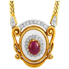 Ilias Lalaounis 18 Karat Gold 0.50 Carat Diamond, Ruby and Crystal Necklace