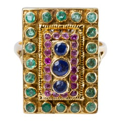 Ilias Lalaounis 18 Karat Gold, Sapphire, Ruby and Emerald Ring