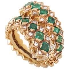 Ilias Lalaounis 18 Karat Yellow Gold 0.35 Carat Diamond and Emerald Ring
