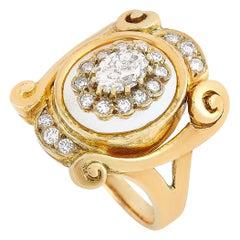 Ilias Lalaounis 18 Karat Yellow Gold 1.00 Carat Diamond and Crystal Ring