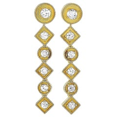 Ilias Lalaounis 18 Karat Yellow Gold 1.10 Carat Diamond Earrings