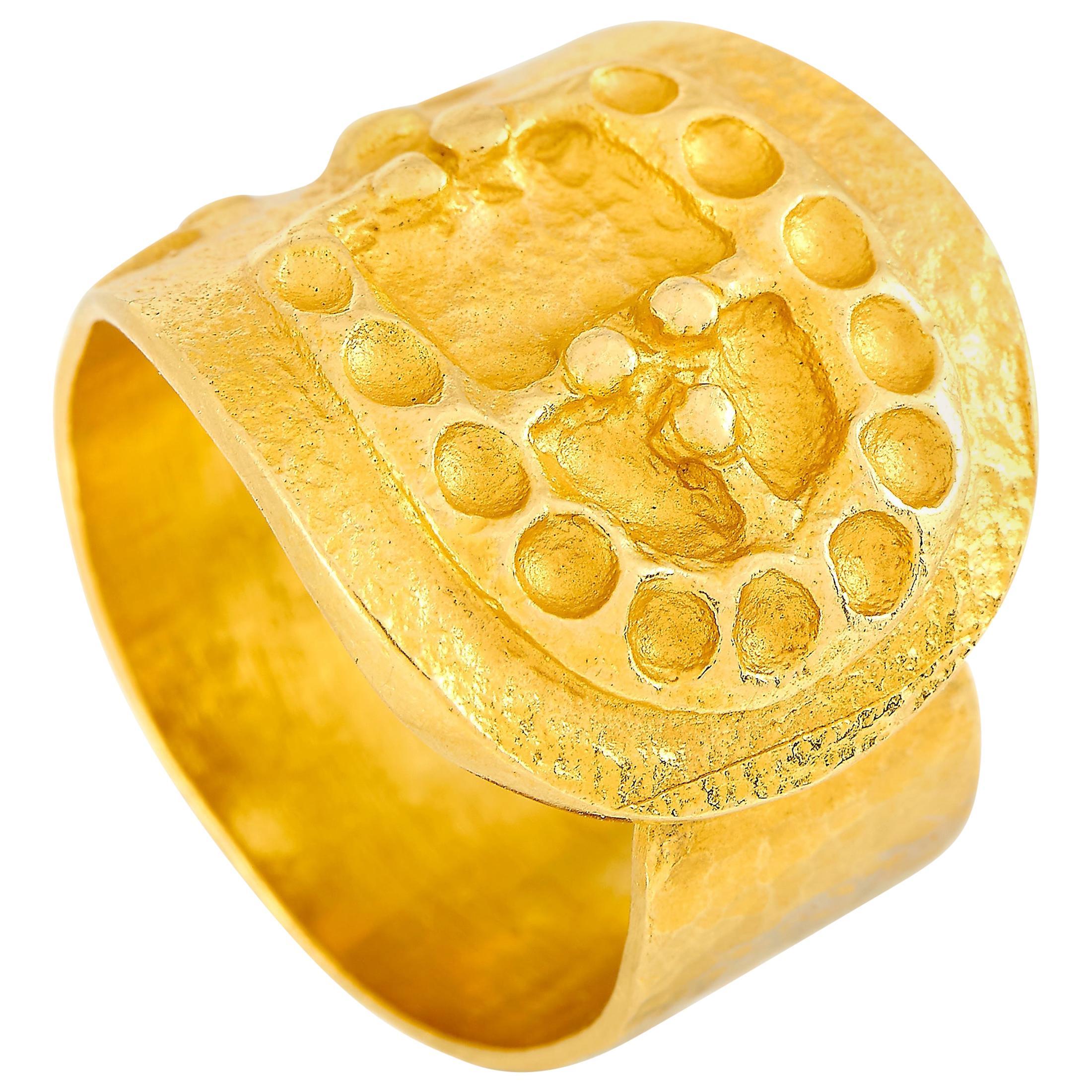 Ilias Lalaounis 18 Karat Yellow Gold Buckle Ring