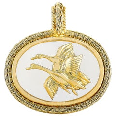 Ilias Lalaounis 18 Karat Yellow Gold Crystal Flying Geese Pendant