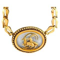 Ilias Lalaounis 18 Karat Yellow Gold Crystal Ram Necklace