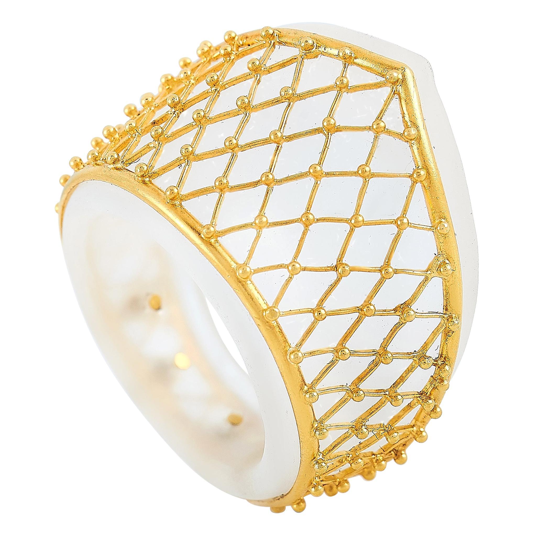 Ilias Lalaounis 18 Karat Yellow Gold Crystal Ring