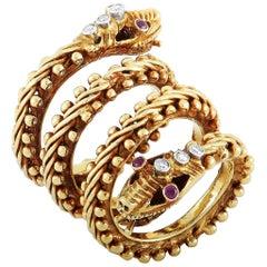 Ilias Lalaounis 18 Karat Yellow Gold Diamond and Ruby Snake Ring