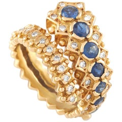Ilias Lalaounis 18 Karat Yellow Gold Diamond and Sapphire Ring