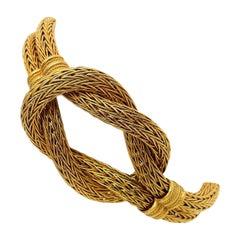 Ilias Lalaounis 18 Karat Yellow Gold Hercules Knot Foxtail Link Bracelet Greece