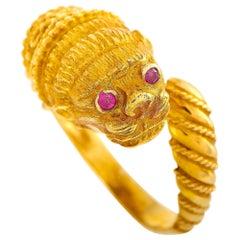 Ilias Lalaounis 18 Karat Yellow Gold Lion Ring