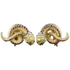 Ilias Lalaounis 18 Karat Yellow Gold Ruby and Diamond Chimera Earrings