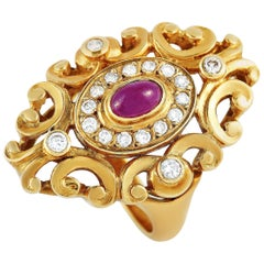 Ilias Lalaounis 18 Karat Yellow Gold 0.35 Carat Diamond and Ruby Ring