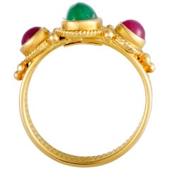 Ilias Lalaounis 18 Karat Yellow Gold Emerald and Ruby Band Ring