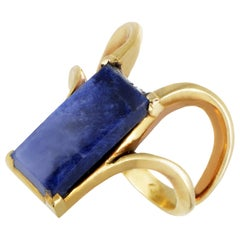 Ilias Lalaounis 18 Karat Yellow Gold Rectangular Sodalite Ring