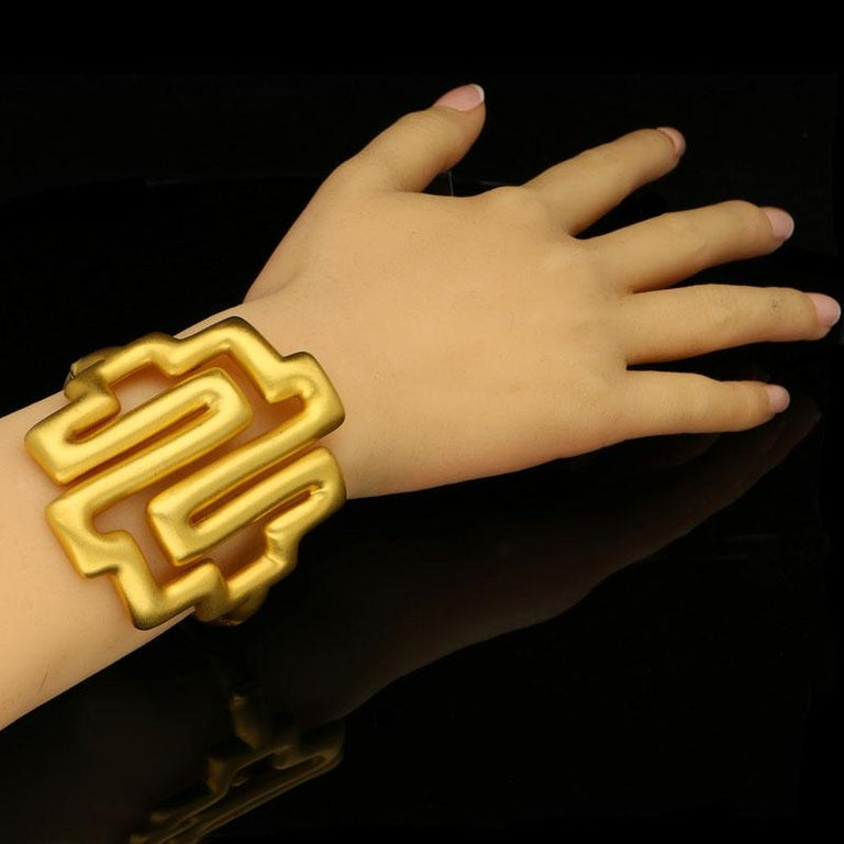 Women's or Men's Ilias Lalaounis 22 Carat Yellow Gold with Brushed Finish Bracelet, circa 1977 For Sale