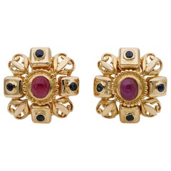 Ilias Lalaounis 2.80 Natural Ruby .80 Ct Sapphire High End Clip on 18 KT Earring