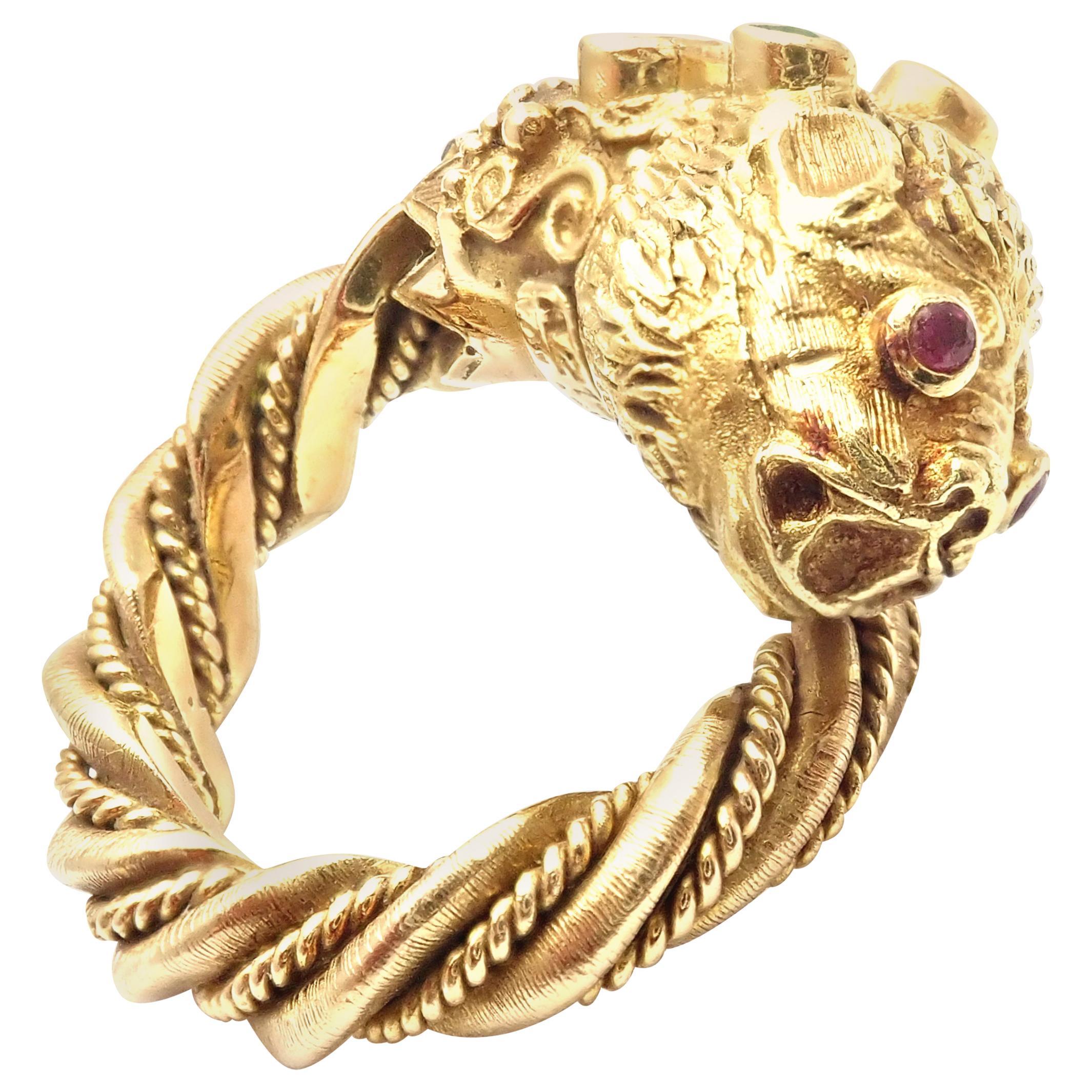Ilias Lalaounis Chimera Emerald Ruby Yellow Gold Band Ring