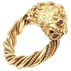Ilias Lalaounis Chimera Emerald Ruby Yellow Gold Band Ring