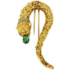 Ilias Lalaounis Chimera Lion 18 Karat Gold Brooch with Emerald and Diamonds