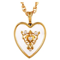 Ilias Lalaounis Diamond and Crystal Heart Yellow Gold Pendant Necklace