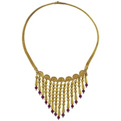 Ilias Lalaounis Garnet Tassel Necklace