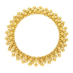 Ilias Lalaounis Geometric Gold Fringe Round Brilliant Cut Diamonds Necklace