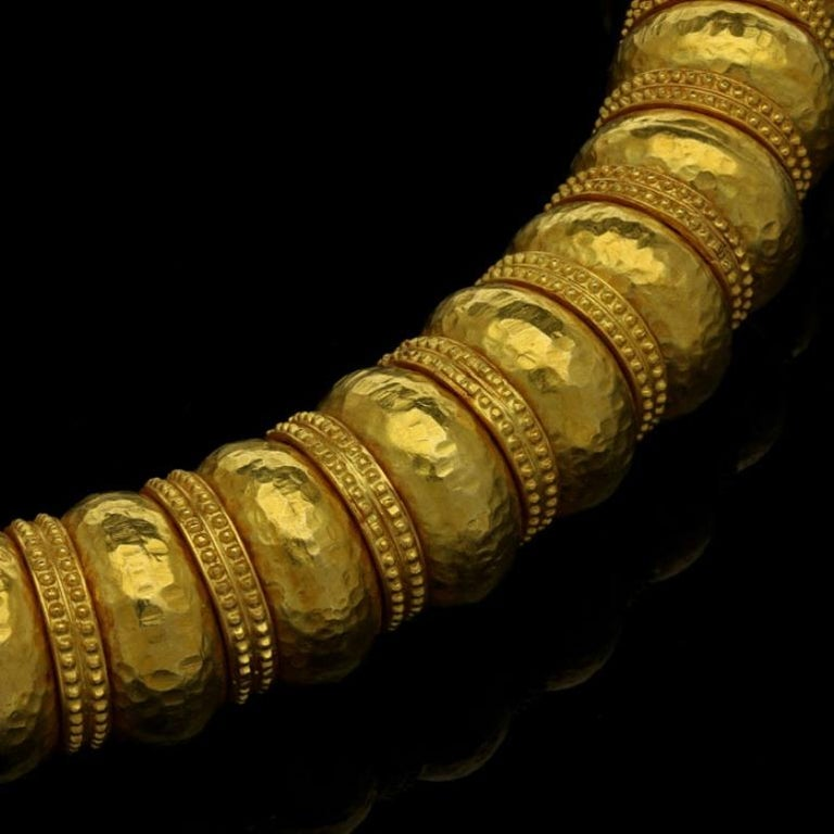 Hellenistic Ilias Lalaounis Gold Bead Necklace with Hammered Finish and Textured Rondels For Sale