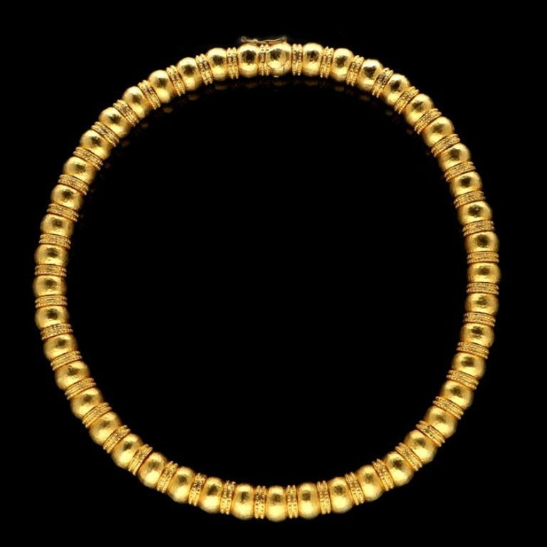 Women's or Men's Ilias Lalaounis Gold Bead Necklace with Hammered Finish and Textured Rondels For Sale