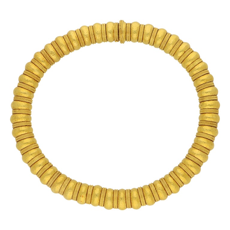 Ilias Lalaounis Gold Bead Necklace with Hammered Finish and Textured Rondels For Sale