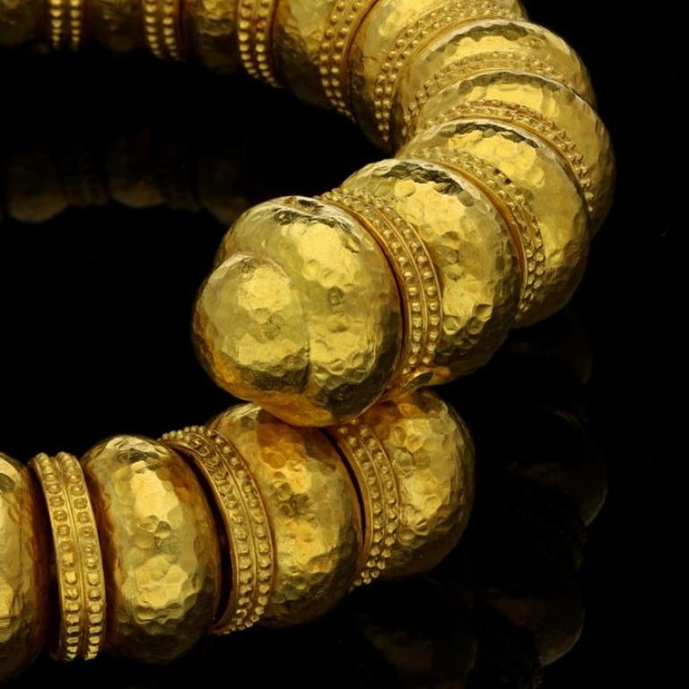 Ilias Lalaounis Gold Bead Open Sprung with Hammered Finish and Textured Bracelet For Sale 1