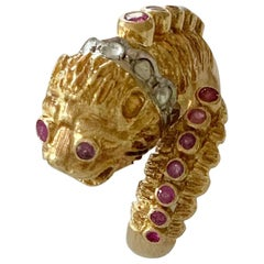 Ilias Lalaounis Gold Diamond and Ruby Chimera Lion's Head Ring
