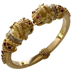 Ilias Lalaounis Gold Diamond and Ruby Lion's Head Bangle Bracelet