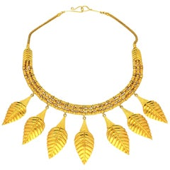 Ilias Lalaounis Gold Suspending Seven Graduated Leaf Shaped Motifs Necklace