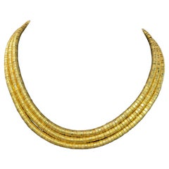 Ilias Lalaounis Greece 18 Karat Yellow Gold Three Row Collar Necklace 127 Grams