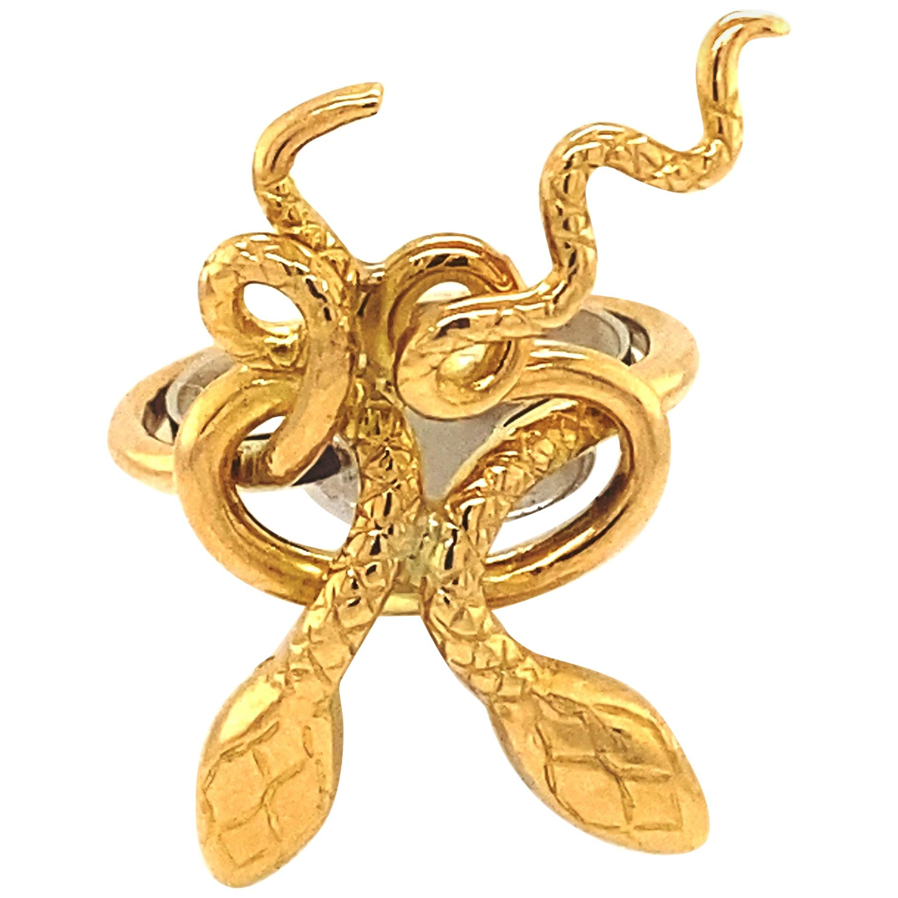 Ilias Lalaounis Greece Double Snake 18k Yellow Gold Ring