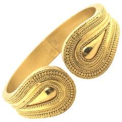 Ilias Lalaounis Greece Gold Cuff Bracelet in 18 Karat Yellow Gold