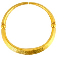 Ilias Lalaounis Greece Hammered Gold Choker Necklace