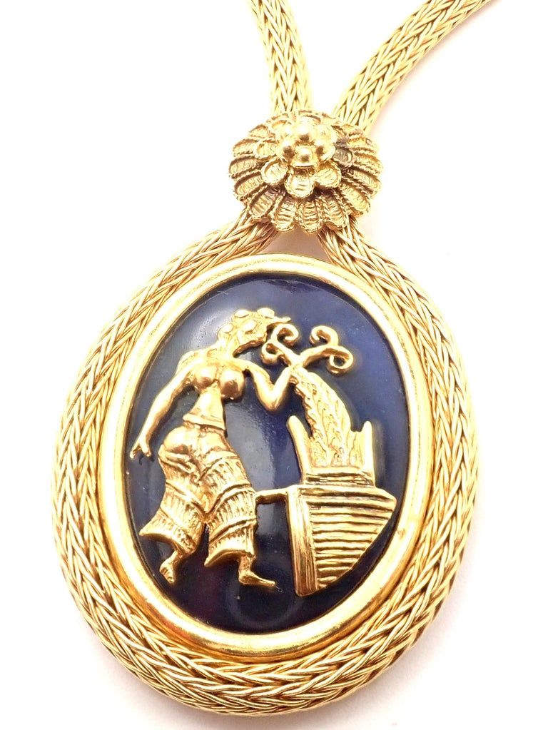 Oval Cut Ilias Lalaounis Greece Sodalite Yellow Gold Pendant Lariat Necklace For Sale