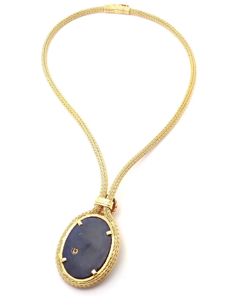 Ilias Lalaounis Greece Sodalite Yellow Gold Pendant Lariat Necklace In Excellent Condition For Sale In Holland, PA