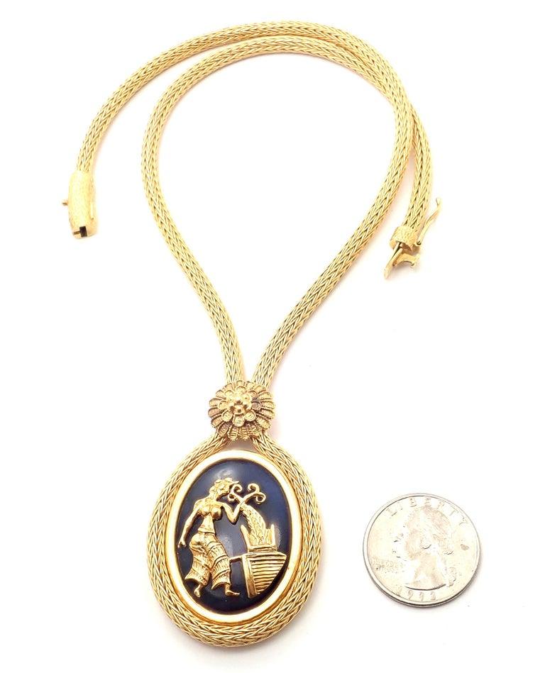 Ilias Lalaounis Greece Sodalite Yellow Gold Pendant Lariat Necklace For Sale 2