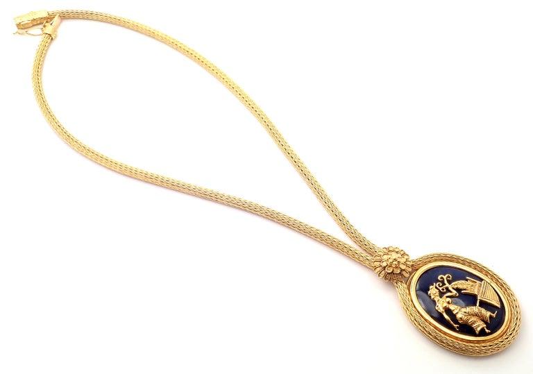 Ilias Lalaounis Greece Sodalite Yellow Gold Pendant Lariat Necklace For Sale 3