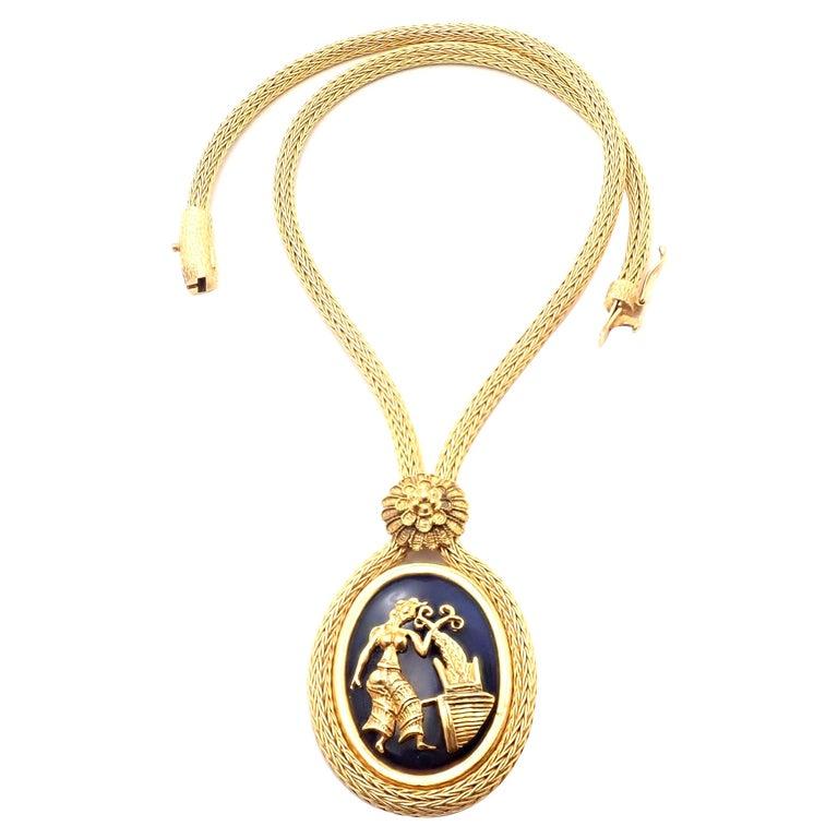 Ilias Lalaounis Greece Sodalite Yellow Gold Pendant Lariat Necklace For Sale