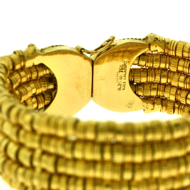 Ilias Lalaounis Helen of Troy Textured Flexible 18 Karat Yellow Gold Bracelet In Good Condition For Sale In Miami, FL