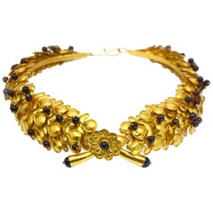 Ilias Lalaounis Large 18 Karat Gold Cabochon Ruby Tiara Choker Necklace