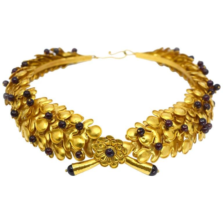 Ilias Lalaounis Large 18 Karat Gold Cabochon Ruby Tiara Choker Necklace For Sale