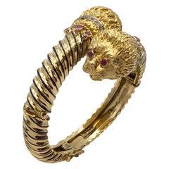 Ilias LaLaounis Large Gold and Gem Set Chimera Bangle Bracelet