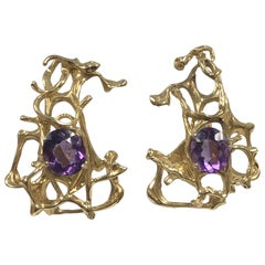 Ilias Lalaounis Large Mid Century Brutalist Gold and Amethyst Earrings
